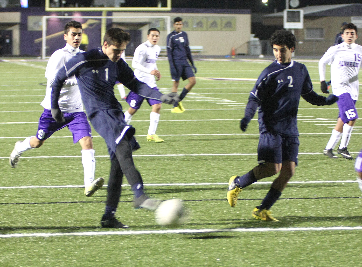 This was the game winner fired by sophomore striker Aaron Veloz in the 79th minute of Stephenville's regular season opener at Alvarado Tuesday night. || Photo by BRAD KEITH