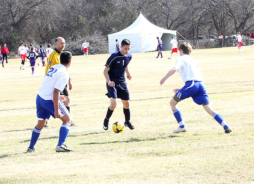 Stephenville sophomore striker Aaron Veloz hammered four goals into the back of the net in Stephenville's tournament opener. || Photo by BRAD KEITH