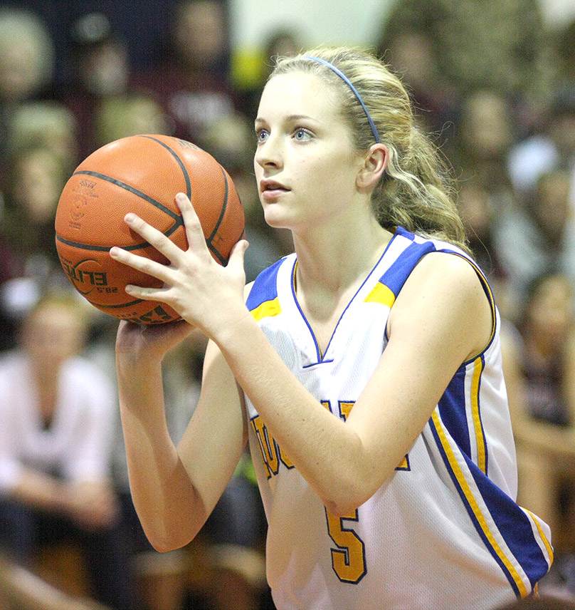 Taylor Lowe attempts a free throw for Huckabay.    Photo by BRAD KEITH