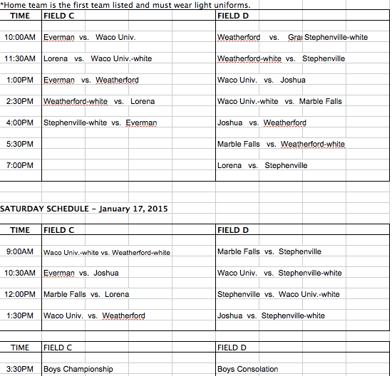 KOC Boys Schedule