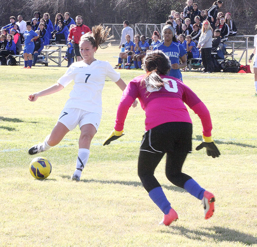 Tatum Sharp scored two second-half goals including the equalizer to send Tuesdsay's district championship match to penalty kicks, but Abilene Wylie prevailed. || File photo
