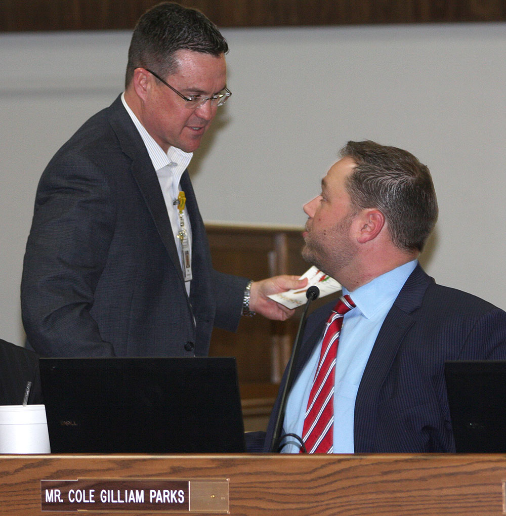 Superintendent Matt Underwood presented Stephenville ISD trustees, including Cole Gilliam Parks, above, a token of appreciation during School Board Appreciation Month.