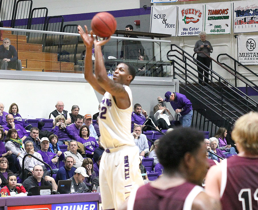 TaShawn Mabry scored 12 points in the final nine minutes and finished with 23 in Tarleton State's win over West Texas A&M in front of 2,934  at Wisdom Gym Wednesday night. || Photo courtesy Dr. CHET MARTIN