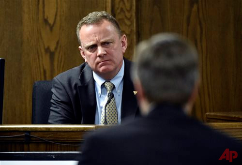 Forensics expert Howard Ryan testifies during the capital murder trial of former Marine Cpl. Eddie Ray Routh at the Erath County, Donald R. Jones Justice Center on Tuesday, Feb. 24. Routh, 27, of Lancaster, has been found guilty of the 2013 deaths of Chris Kyle and his friend Chad Littlefield at Rough Creek Lodge. || AP Photo/The Dallas Morning News, Michael Ainsworth, Pool