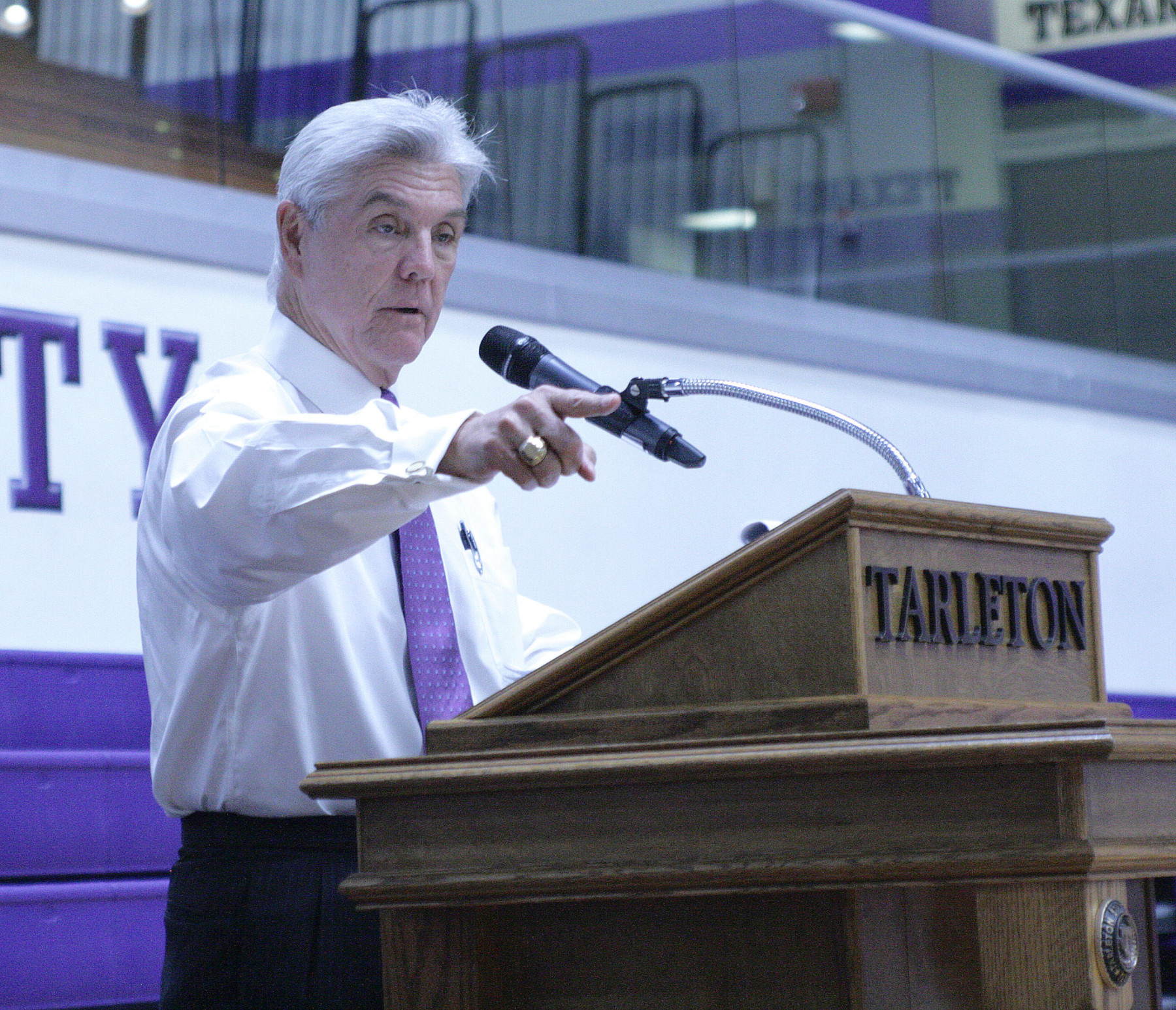 United States Congressman Roger Williams speaks at the Tarleton State men's basketball celebration Monday inside Wisdom Gym. || Photo by BRAD KEITH/TheFlashToday.com