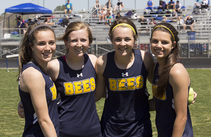 Winning the 4x200 relay for the Honeybees were (left to right) Hailey Martin, Maddi Cashell, Cassidy Cline and Kylee Ponder. || Photo courtesy Dr. CHET MARTIN