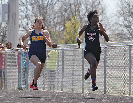 Kylee Ponder of Stephenville won the 100 meter dash in Saturday's Optimist Relays at Lem Brock Field. || Photo by RUSSELL HUFFMAN