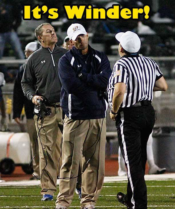 Stephenville offensive coordinator Greg Winder, left, is a school board vote away from being promoted to head coach. He is being presented now to school trustees as the lone finalist for the position left vacant by Joseph Gillespie, also pictured. || Photo and graphic by RUSSELL HUFFMAN