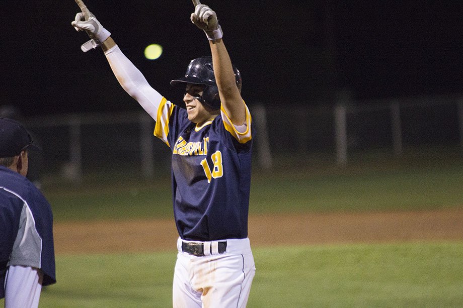 Stephenville's Josh Olivan celebrates his game-winning two-run single in the top of the seventh inning at Brownwood Wednesday night. || Courtesy Dr. CHET MARTIN