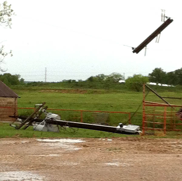 High winds blew down a power pole Friday in the Highland community in western Erath County.