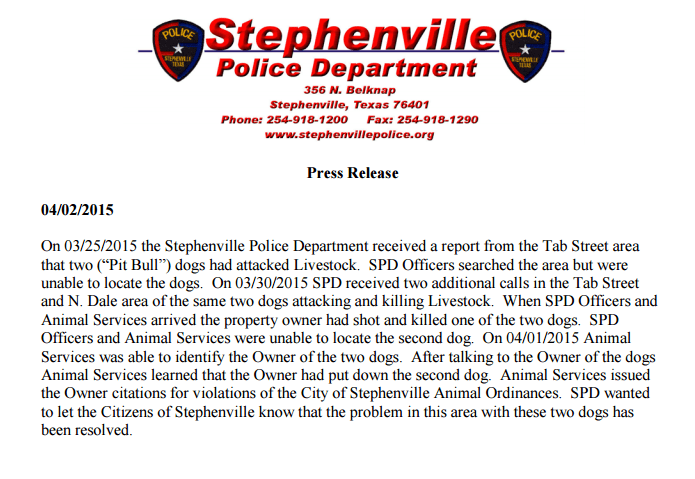 Stephenville Police Department press release April 2, 2015
