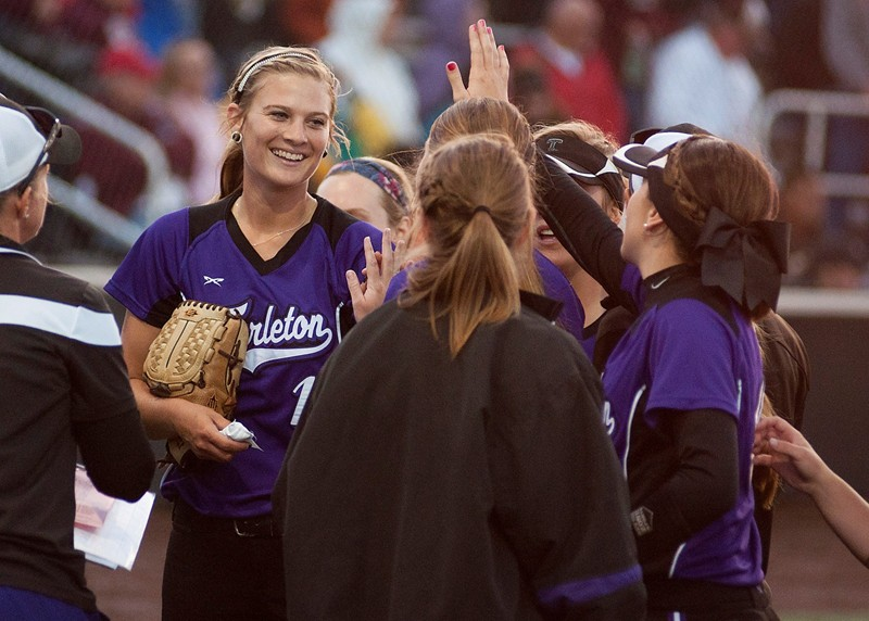 Shelby Hedrick is congratulated by teammates after earning a save with three shutout innings Friday. || Courtesy Tarleton Athletic Communications