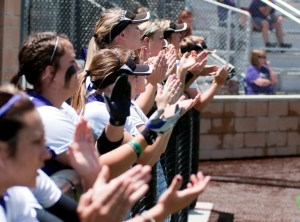 The Tarleton State TexAnns cheer from their dugout during last weekend's regional tournament. || Courtesy Tarleton Athletic Communications