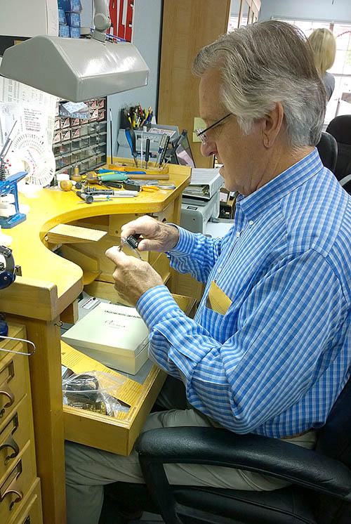 Retiring jeweler Richard Cook repairs a watch in his store on Harbin Drive in Stephenville. || BRAD KEITH/TheFlashToday.com