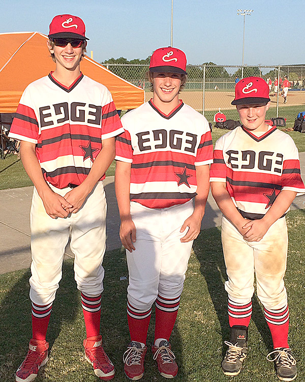 Members of the Texas Edge, a Granbury select team, opposing each other for the Dublin Astros and the Stephenville Mets include (left to right) Gabriel Moore, Blaze Leatherwood and Tyeler Reed.    Courtesy DAVID LEATHERWOOD