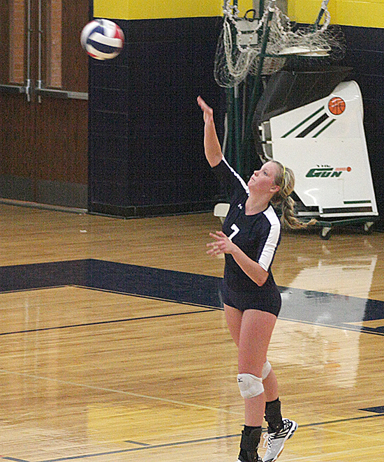 Kerstin Fredrickson serves an ace during a Stephenville win Tuesday. || TheFlashToday.com photo by BRAD KEITH