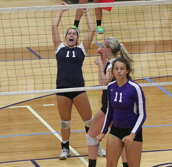 Mikayla Hobbs celebrates match point in a victory over Fort Worth Paschall in the Granbury Classic Chevrolet Tournament Friday, the 600th career win for Stephenville head coach Fran Metzger. Hobbs went on to make the all-tournament team. || TheFlashToday.com photo by JESSIE HORTON