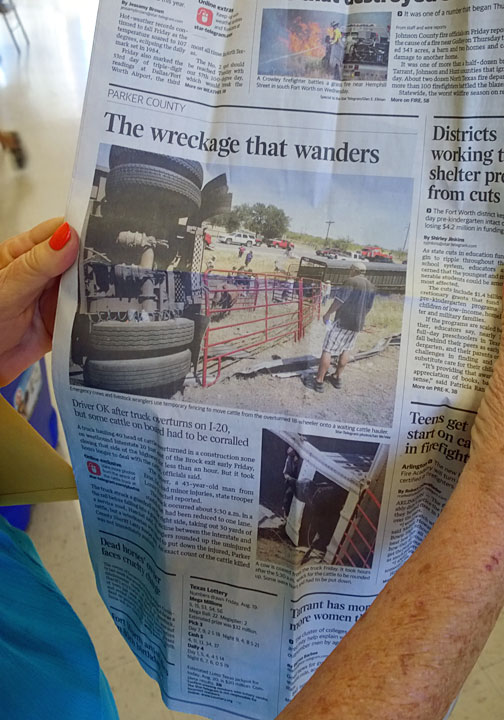 Barbara King holds up a recent article about  Sargent Wrecker. Like any proud mom she keeps her sons's moments of fame close at hand.