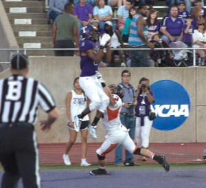 Bubba Tandy goes upstairs for a Tarleton touchdown to tie the game at 14-14 in the second quarter. || Photo by CHET MARTIN