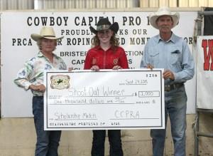 Heidy Sieperda celebrates winning $1,000 scholarship at the Cowboy Capital of the World PRCA Rodeo Thursday. || Photo by BRAD KEITH