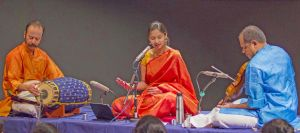 Thanmayee Krishnamurthy (middle) will perform with two international artists, Vittal Ramamurthy, on violin, and Poovalure Sriji, on the mridangam (South-Indian drums), at 4 p.m. Thursday, Nov. 19.
