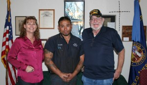 Tami Barker with Erath County Veterans' Services and Commander Harry Woodward of the DAV Chapter 234 are pictured with Sgt. First Class Danny Terriquez who said he appreciated all the support the two organizations and the community has given him and his family since moving here in November.    JESSIE HORTON photos