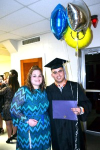 Eastland residents Edwin Carrillo and Kendall Modena-Lee Noles celebrated receiving their Associate of Arts degrees with balloons. Carillo and Noles were among 51 students to receive degrees during Ranger College's Fall commencement services on Dec. 3 in Brownwood.