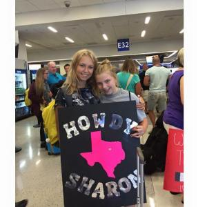 Schaap is welcomed to Texas by KZ Mayes, daughter of house parents Rus and Kristi Mayes.