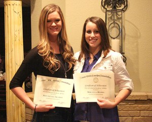 Academic all-state prestige from the TGCA was earned by Kourtney Seaton, left, and Mikayla Hobbs.
