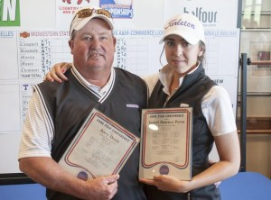 Nine-time LSC Golf Coach of the Year Jerry Doyle and four-time LSC Golfer of the Year Isabel Jimenez-Perea. || Courtesy Tarleton Athletic Communications