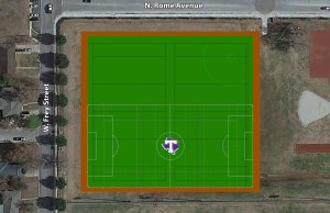 This rendering illustrates the various field markings that will be included on the new synthetic turf intramural fields adjacent to Tarleton State University's Recreational Sports Center.
