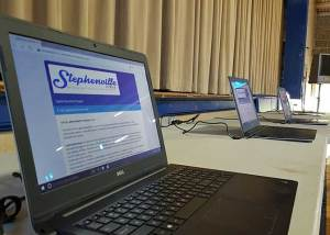 Laptops were at the ready for those who preferred to take the survey online.