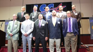 These are the 2016 Lone Star Conference head football coaches, with Tarleton State leader Todd Whitten shown at the bottom right. || TheFlashToday.com photo by BRAD KEITH