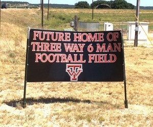 Three Way stadium sign