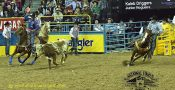 Team roping header Kaleb Driggers of Stephenville and his heeling partner, Junior Nogueira are tops in the world standings entering the 2017 National Finals Rodeo in December. They are shown in round 9 of the 2016 NFR.    Courtesy DUDLEY BARKER/dudleydoright.com