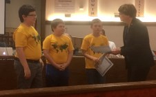 Recognized by the school board for advancing to the national finals in the History Bee competition were Gilbert Intermediate students (not in order) Andrew Kitchens, Timothy Pursell and Mason Tulley.