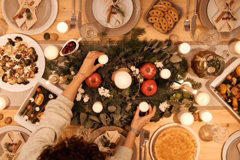 top view of table set up for christmas dinner