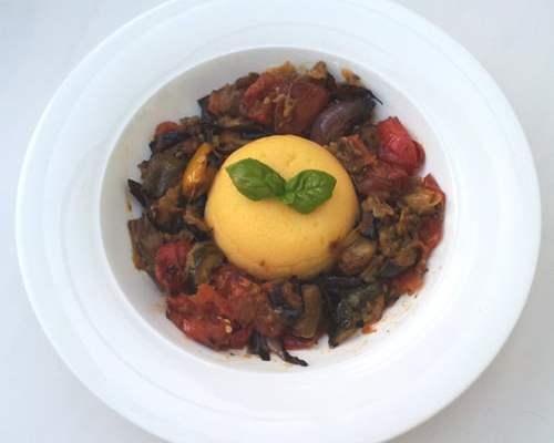 Roasted Ratatouille with Smoked Cheese Polenta [vegetarian] by The Flexitarian