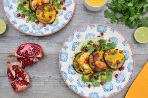 Aubergine & Halloumi Wrap with Lime Saffron Tahini Dresssing [vegetarian] by The Flexitarian