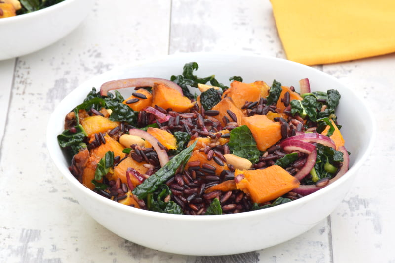 Butternut Squash & Kale Black Rice Salad with Ginger Lime Dressing [vegan] by The Flexitarian