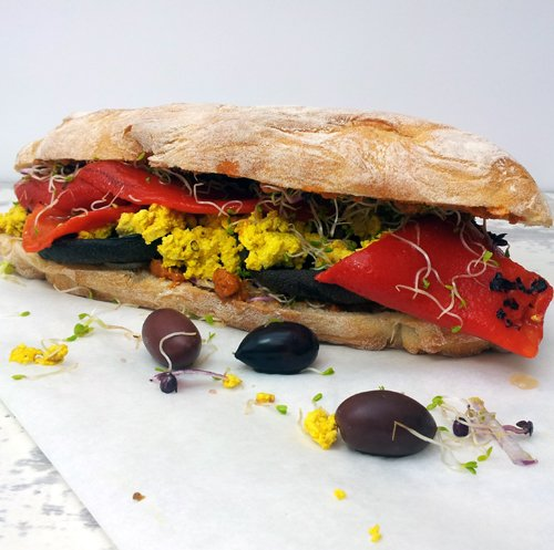 Portobello Mushrooms & Tofu Scramble Ciabatta Sandwich [vegan] by The Flexitarian