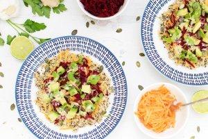 Rainbow Quinoa Buddha Bowl with Ginger Tahini Dressing [vegan] by The Flexitarian