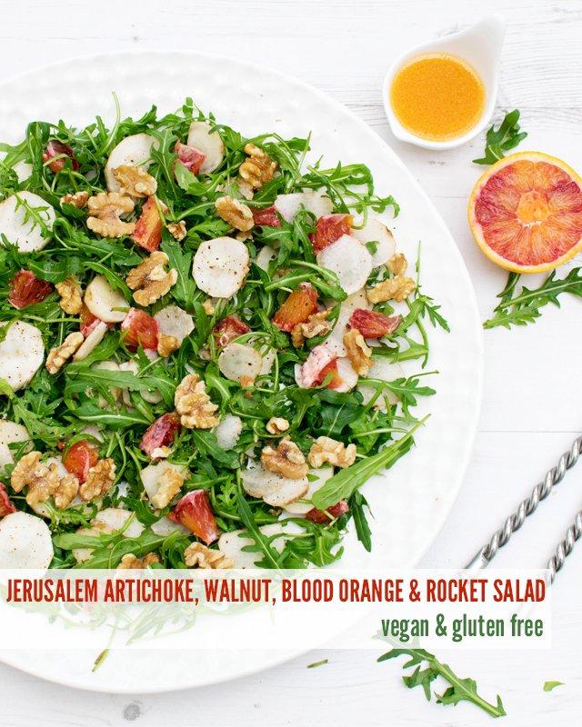 Jerusalem Artichoke, Walnut, Blood Orange & Rocket Salad [vegan] [gluten free] by The Flexitarian