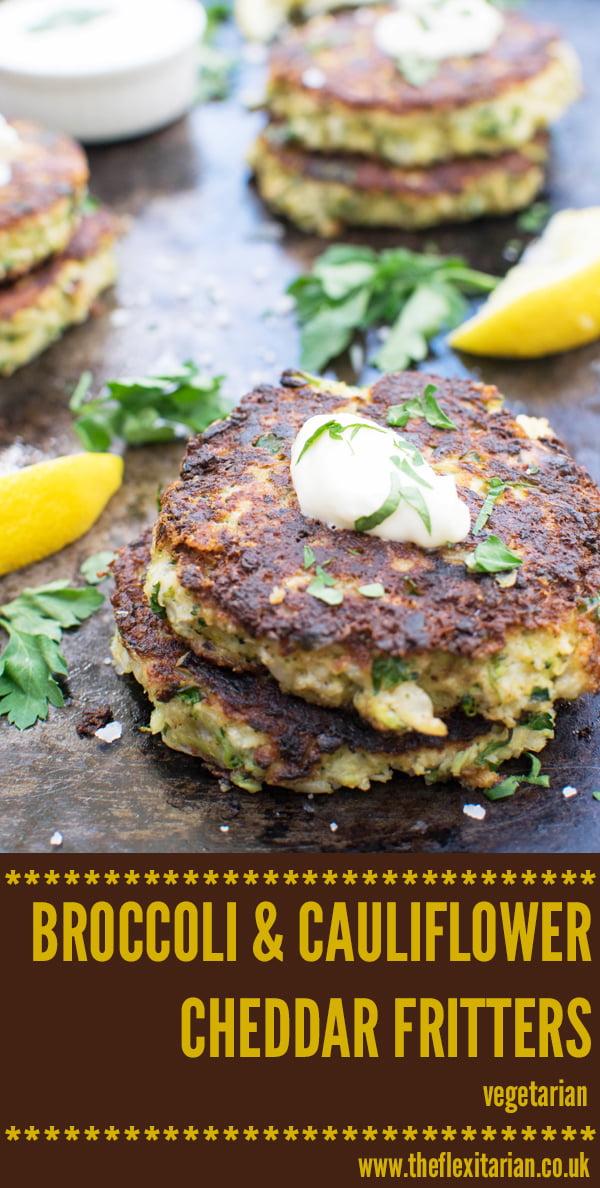 Broccoli & Cauliflower Cheddar Fritters [vegetarian] by The Flexitarian