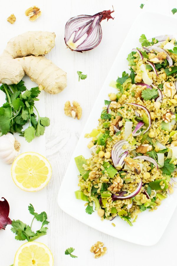 Freekeh & Leek Salad with Miso Dressing [vegan] by The Flexitarian