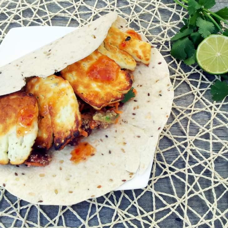Quinoa Wrap With Beetroot, Avocado, Halloumi and Chilli Sauce [vegetarian]