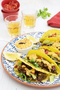 Moroccan Quinoa Mince Tacos with Creamy Harissa Dressing [vegetarian] by The Flexitarian