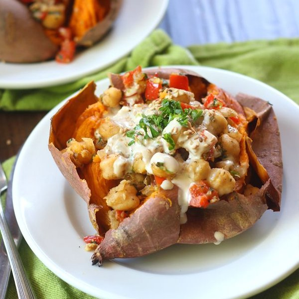 Falafel Spiced Skillet Chickpea Stuffed Sweet Potatoes [vegan] by Connoisseurus Veg