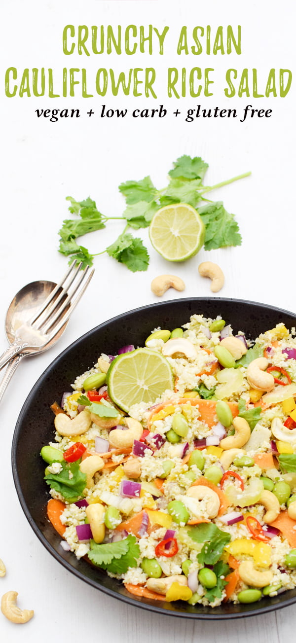 Crunchy Asian Cauliflower Rice Salad [vegan] by The Flexitarian