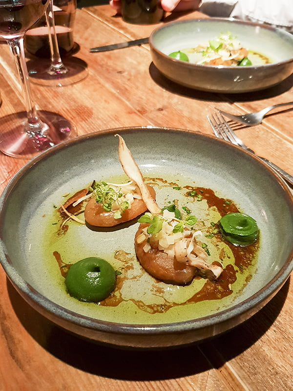 Bōkan's Vegan Tasting Menu Glazed Kohlrabi, white swiss chard ragu, green swiss chard puree, mint